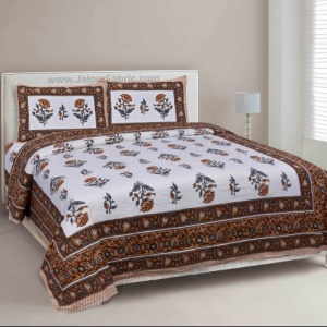 Orange Floral Allure Double Bedsheet
