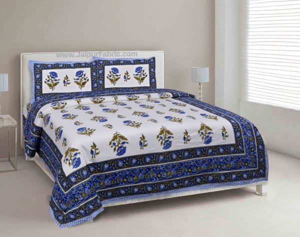 Blue Floral Allure Double Bedsheet