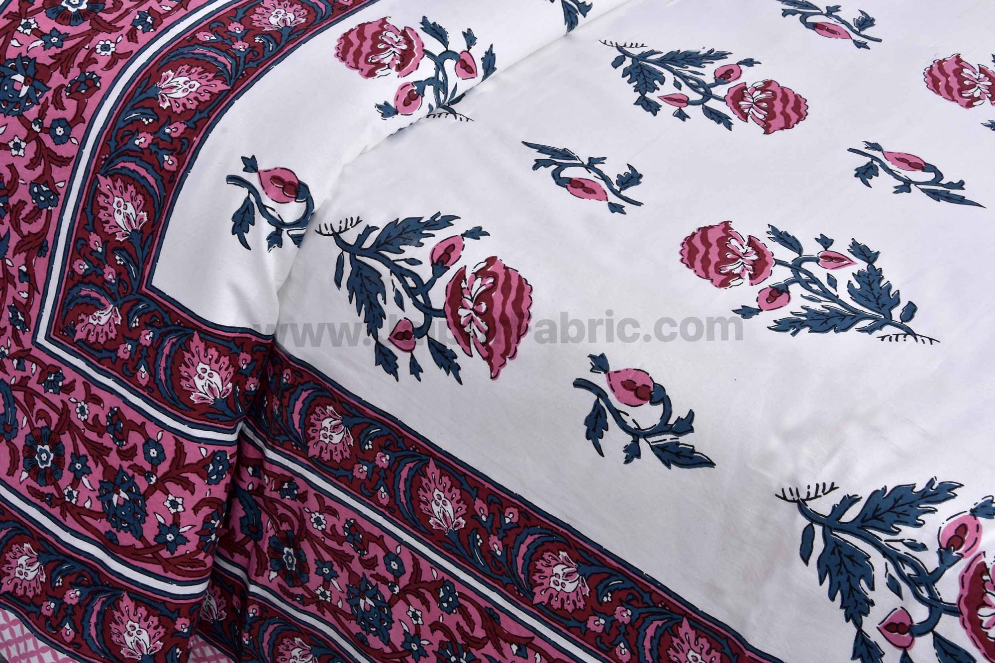 Pink Floral Allure Double Bedsheet