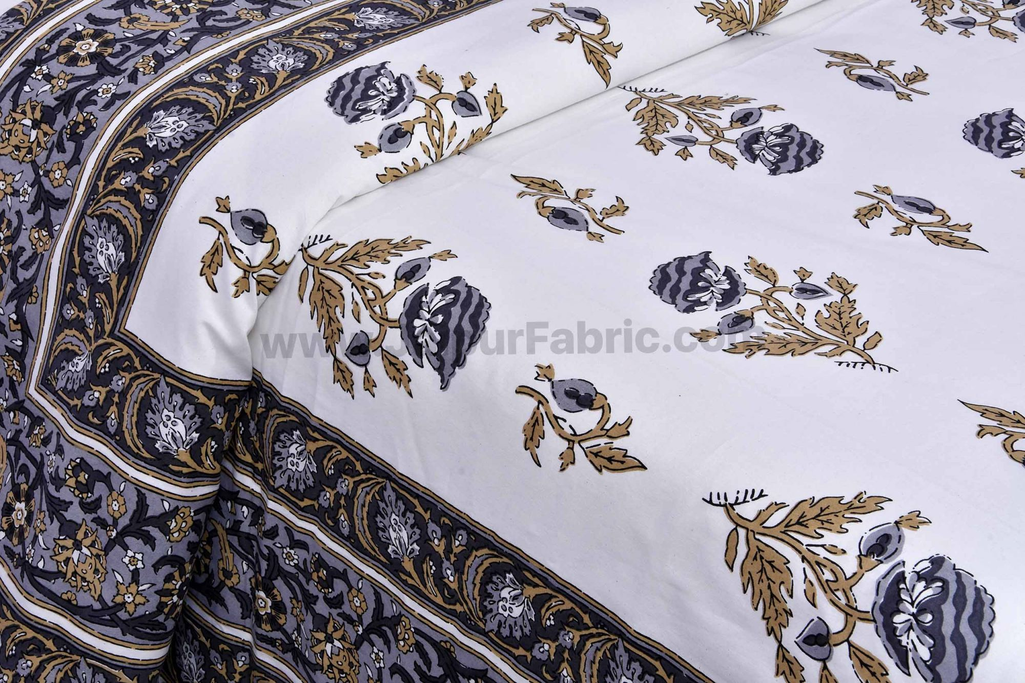 Grey Floral Allure Double Bedsheet
