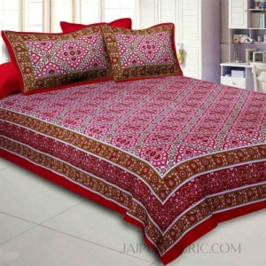 Red Kalamkari Double Bedsheet