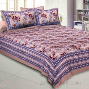 Brown Floral Garth Double Bedsheet