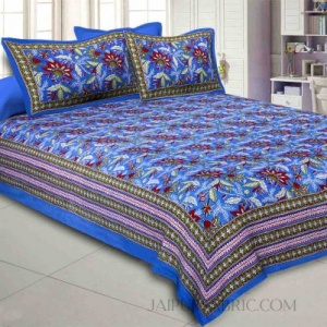 Blue Floral Garth Double Bedsheet