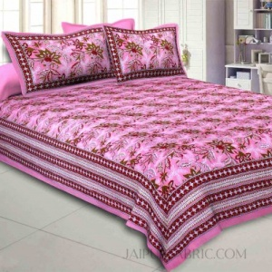 Pink Floral Garth Double Bedsheet