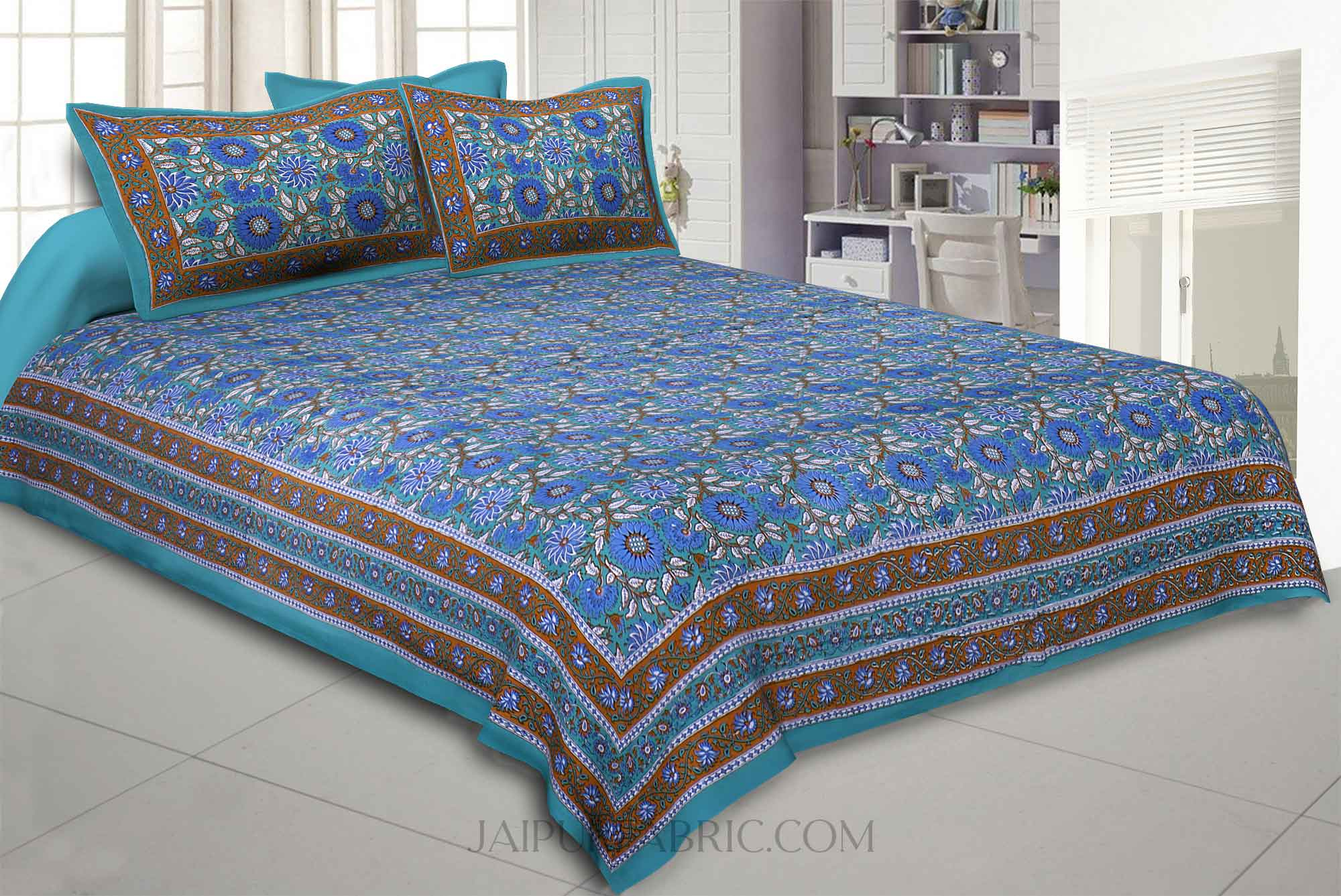 Green Lovely Orchid Double Bedsheet
