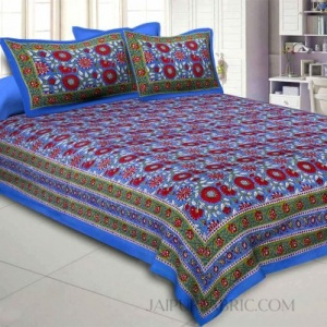 Blue Lovely Orchid Double Bedsheet