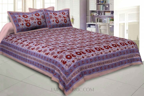 Brown Lovely Orchid Double Bedsheet