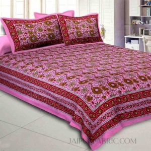 Pink Lovely Orchid Double Bedsheet