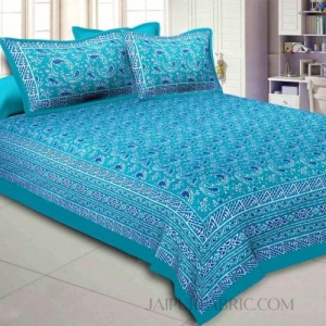 Green Artistic Paisley Double Bedsheet