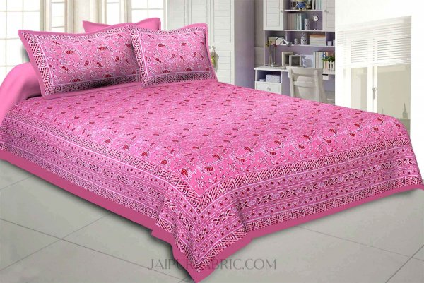 Pink Artistic Paisley Double Bedsheet