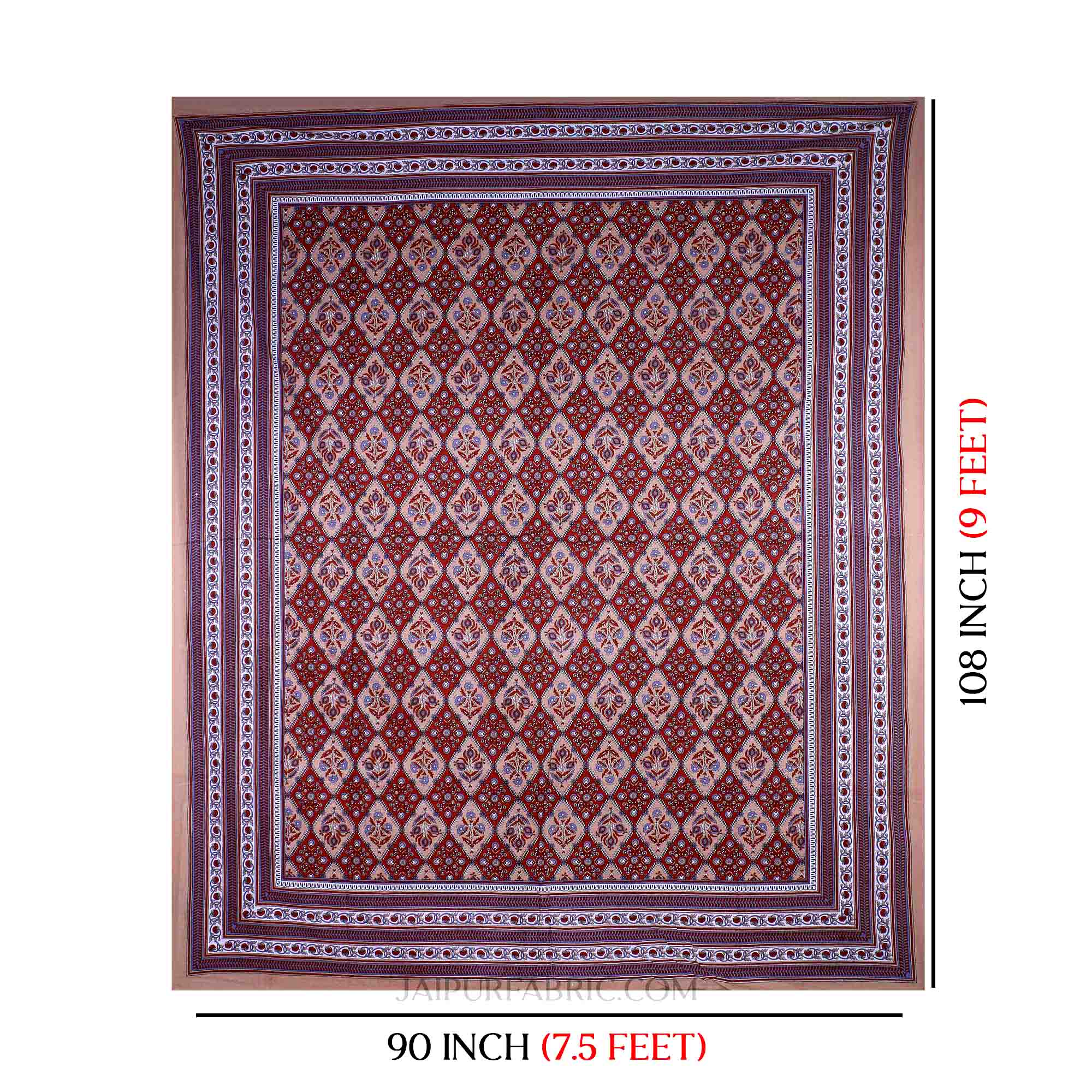 Brown Maroon Kite Charisma Double Bedsheet