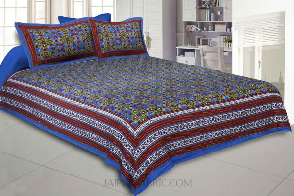 Blue Green Kite Charisma Double Bedsheet