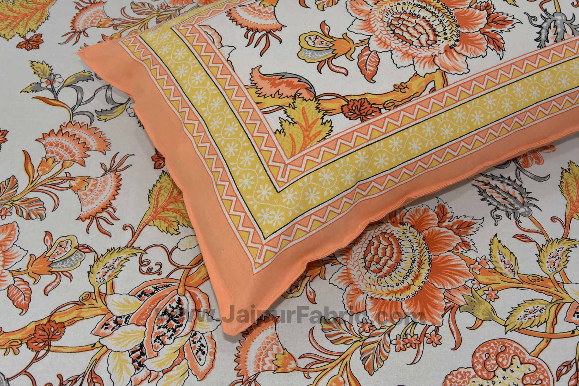 Orange Gala Flowers Double bedsheet