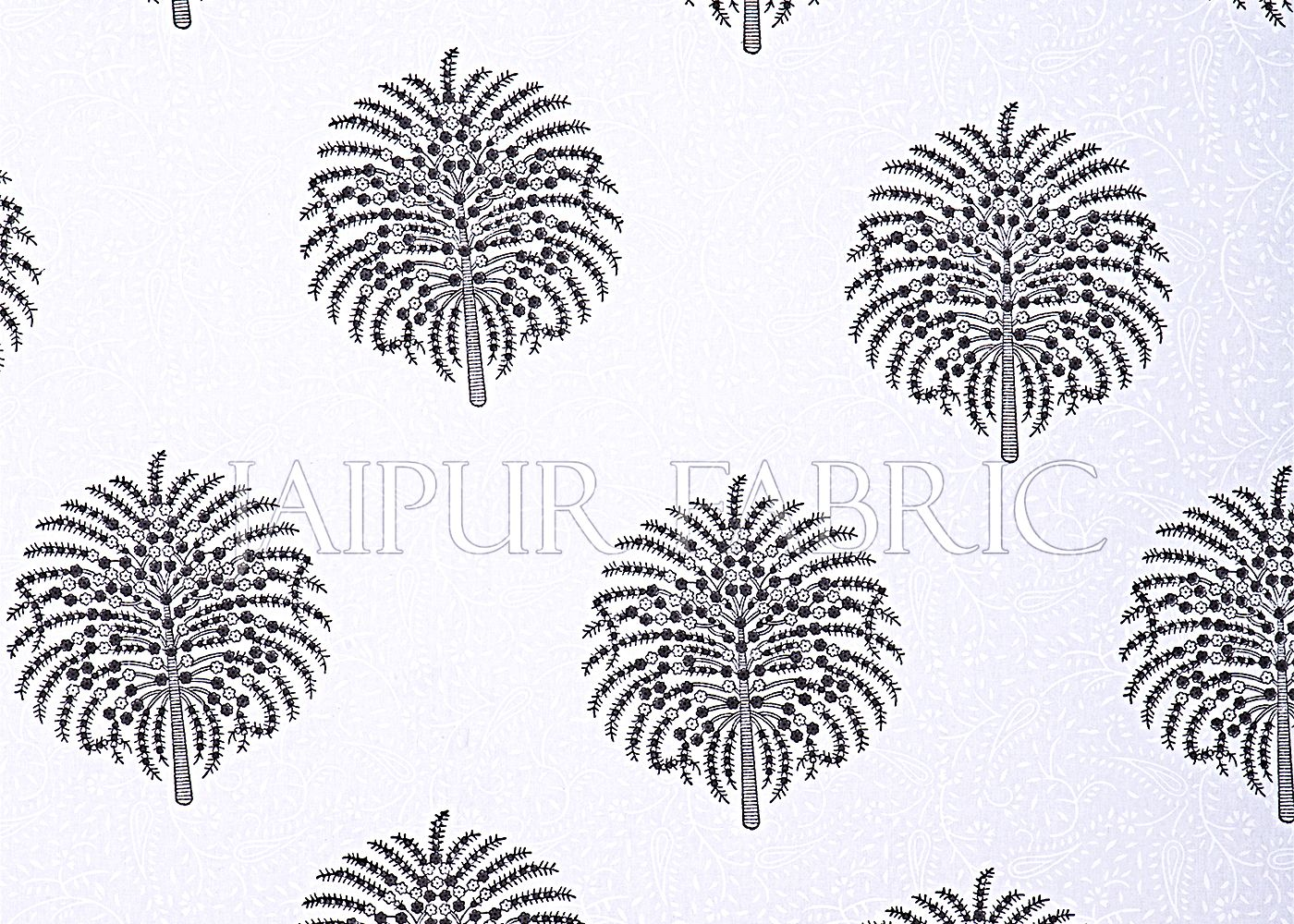 White Base With Kadi Print Black Tree Hand Block Print Super Fine  Cotton Double Bed Sheet