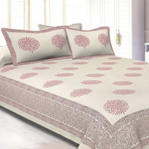 White Base With Kadi Print Red Tree Hand Block Print Super Fine  Cotton Double Bed Sheet
