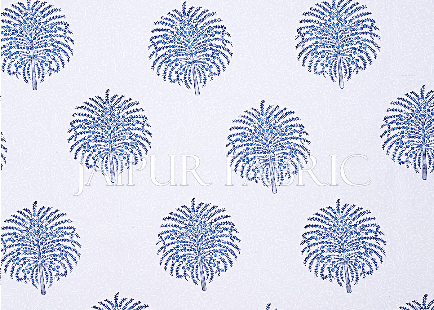 White Base With Kadi Print Blue Tree Hand Block Print Super Fine  Cotton Double Bed Sheet