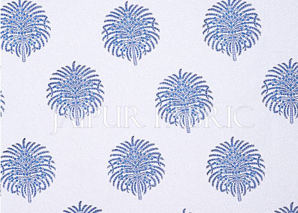 White Base Blue Tree Printed Cotton Double Bed Sheet