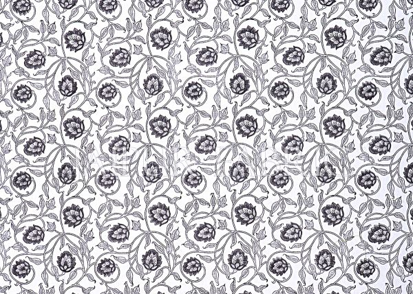 White Base With Kadi Print Black Tree Hand Block Print Super Fine  Cotton Double Bed Sheet