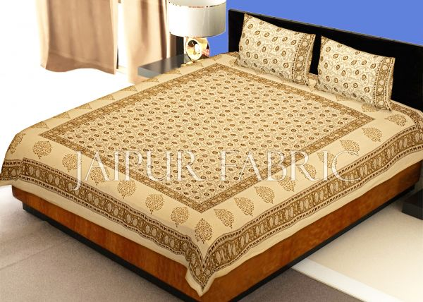Beige Base With Kadi Print Brown Tree Hand Block Print Super Fine  Cotton Double Bed Sheet