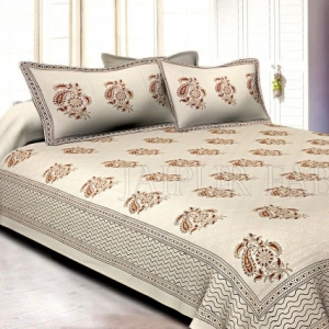 White Base With Kadi Print Brown Tree Hand Block Print Super Fine  Cotton Double Bed Sheet