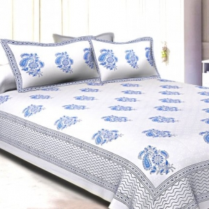 White Base With Kadi Print Blue Rajasthani Buta Hand Block Print Super Fine  Cotton Double Bed Sheet