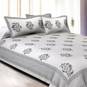 White Base With Kadi Print Blue Rajasthani Buta Hand Block Print Super Fine  Cotton Double Bed Sheet
