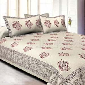 White Base kadi  Pink Rajasthani Buta Hand Block Print Super Fine   Cotton Double Bed Sheet
