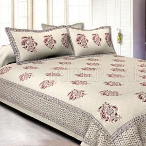 White Base kadi  Pink Rajasthani Buta Hand Block Print Super Fine   Cotton Double Bed Sheet