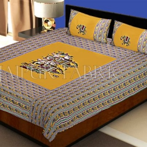 New Mustard Fat Wedding Embroidery Work Double Bed Sheet