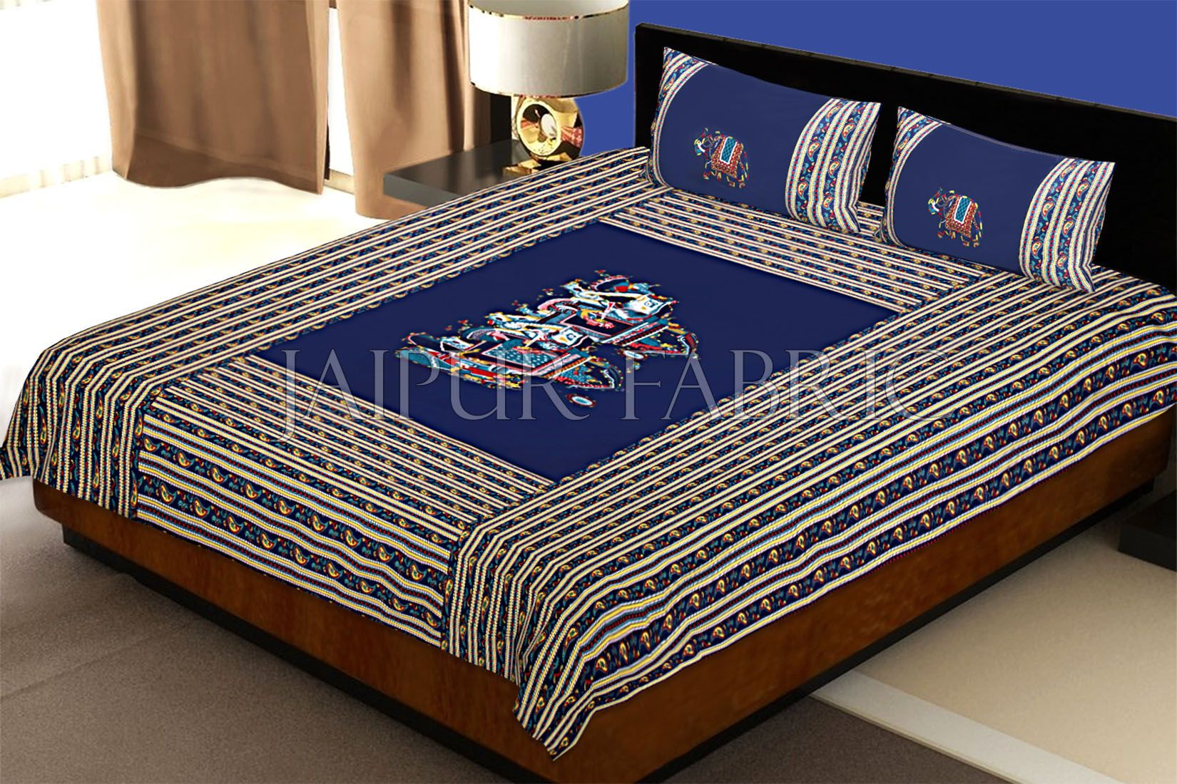 Blue Fat Wedding Embroidery Work Double Bed Sheet