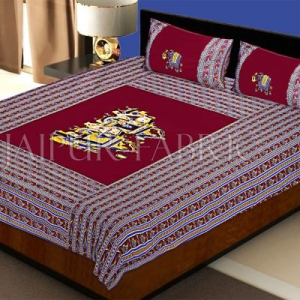 Maroon Fat Wedding Embroidery Work Double Bed Sheet
