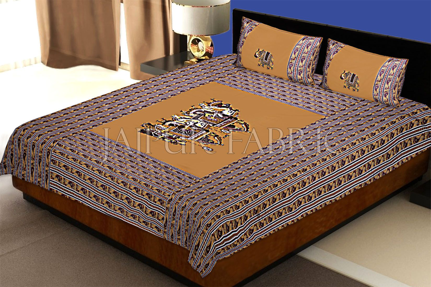 Brown Fat Wedding Embroidery Work Double Bed Sheet
