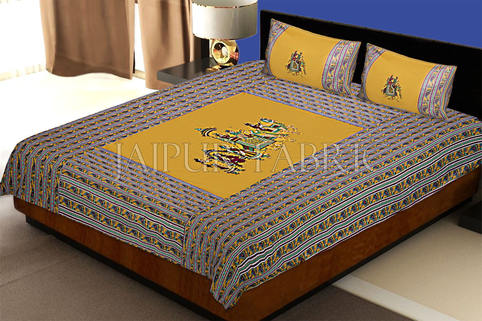 New Mustard traditional Army Applique patchwork double bed sheet