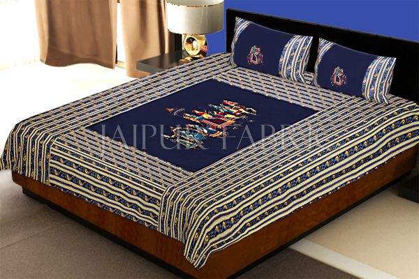 Blue traditional Army Applique patchwork double bed sheet
