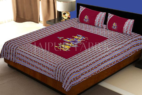 Maroon traditional Army Applique patchwork double bed sheet