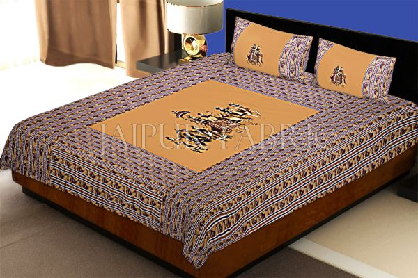 Brown traditional Army Applique patchwork double bed sheet
