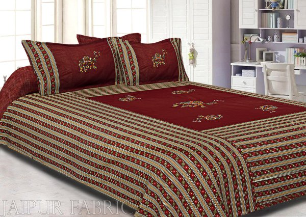 Maroon Color Camel Embroidery Work Double Bed Sheet with Two Pillow Covers
