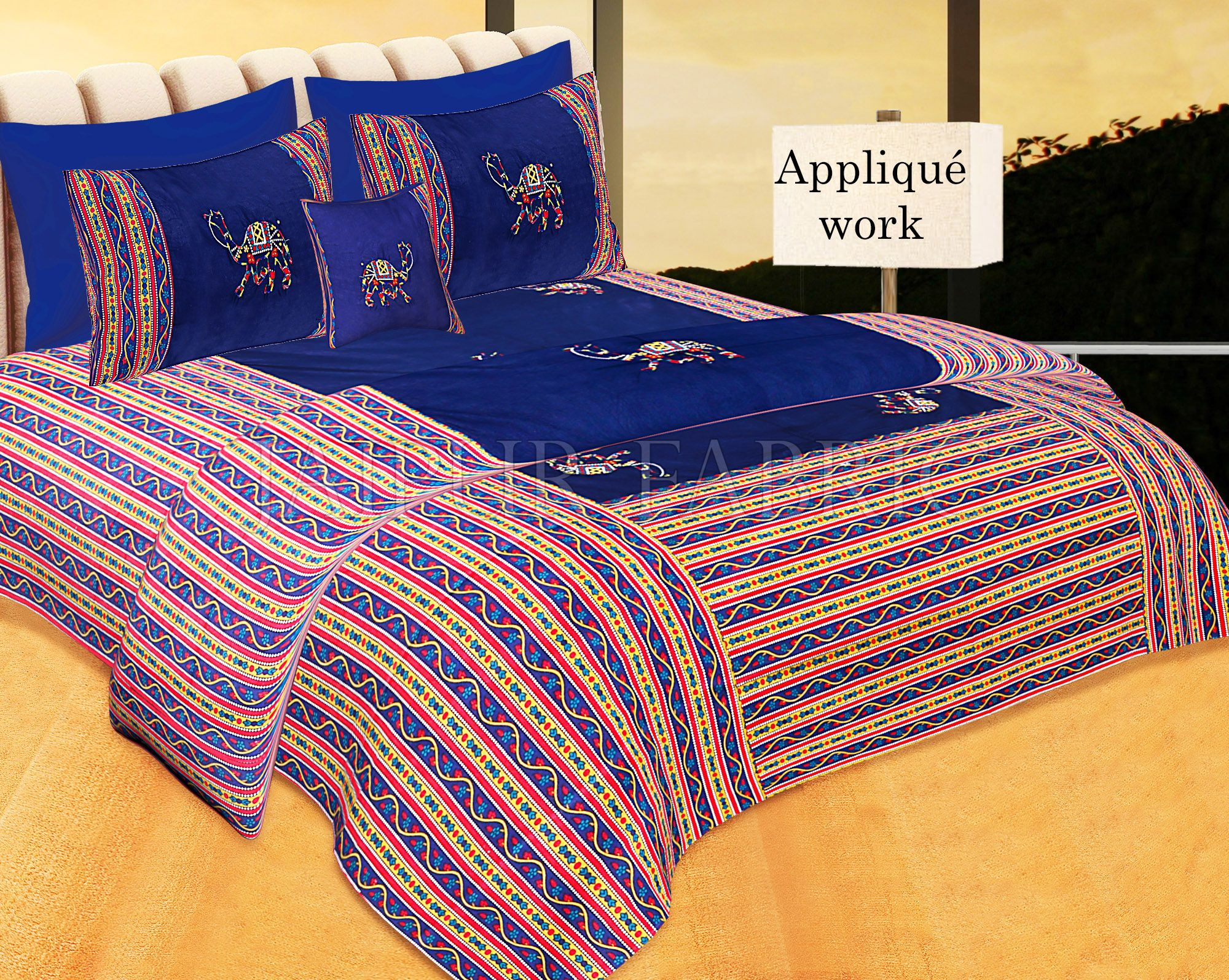 Blue Color Camel Embroidery Work Double Bed Sheet with Two Pillow Covers