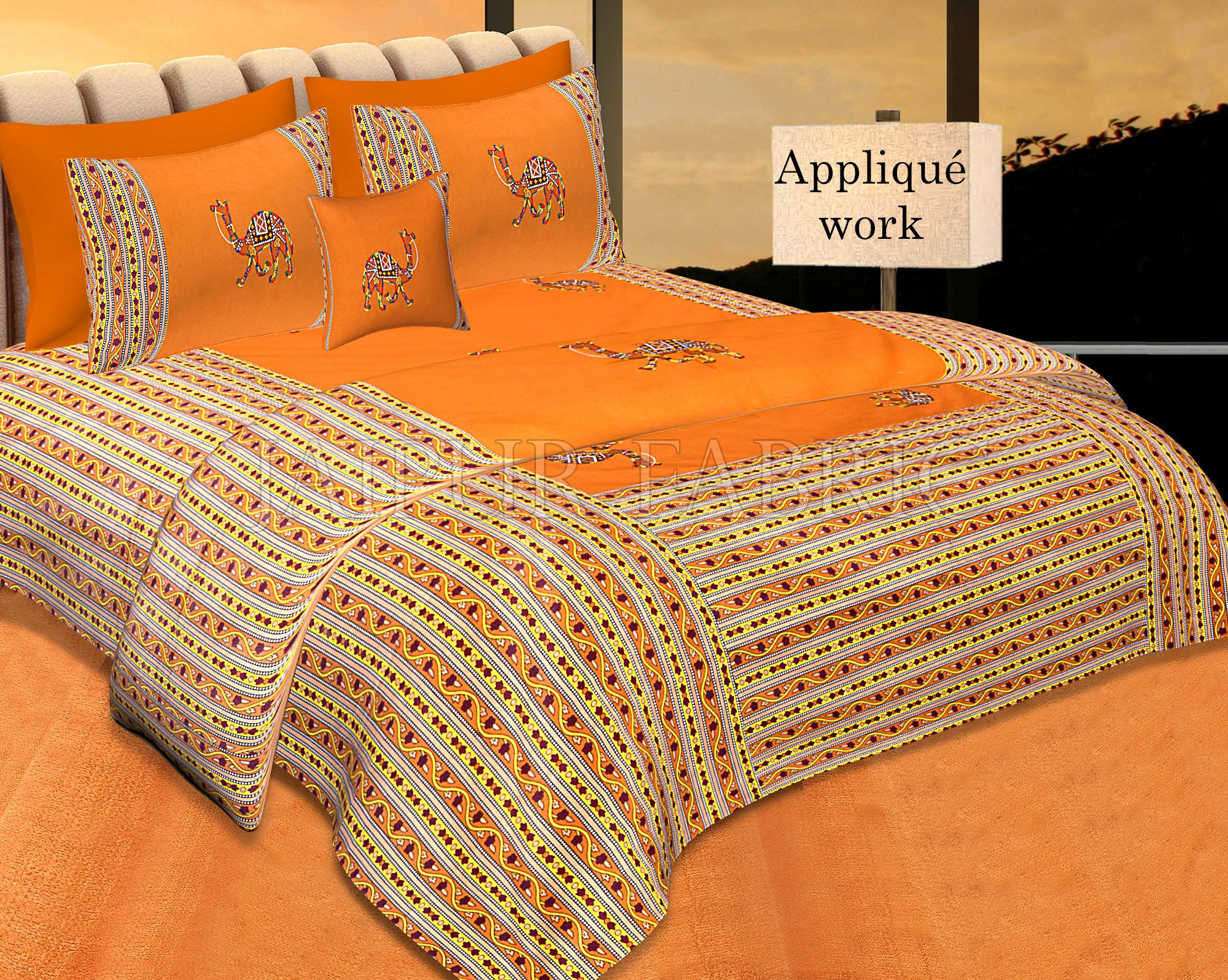 Brown Color Camel Embroidery Work Double Bed Sheet with Two Pillow Covers