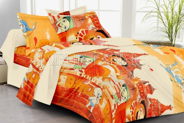 Cream Base Cartoon Print Double Bed Sheet