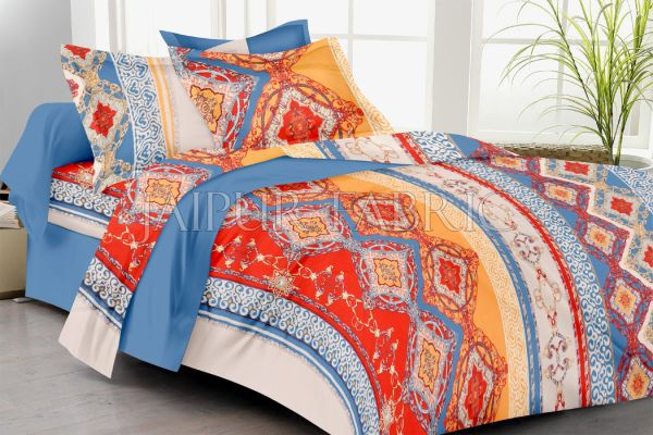 Multi Color Rangoli Print Double Bed Sheet