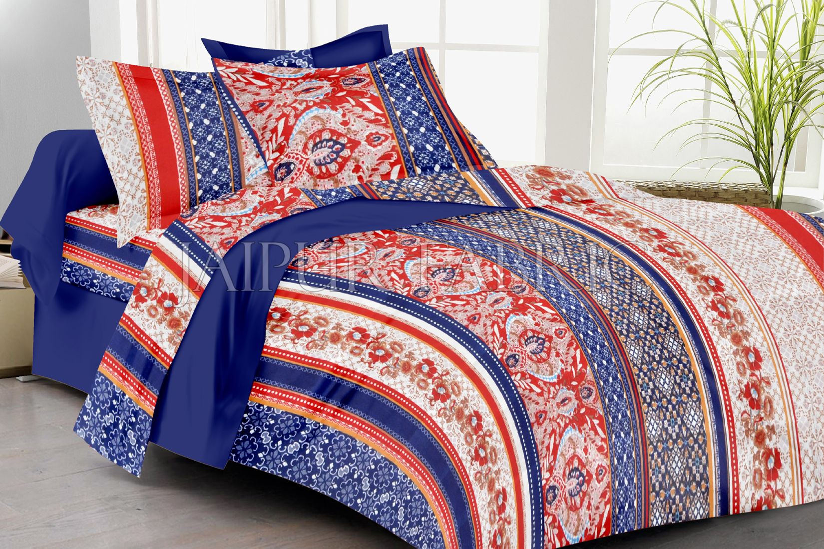 Blue And Red Lining Floral Print Double Bed Sheet