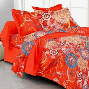 Orange Color Floral And Circle Print Double Bed Sheet
