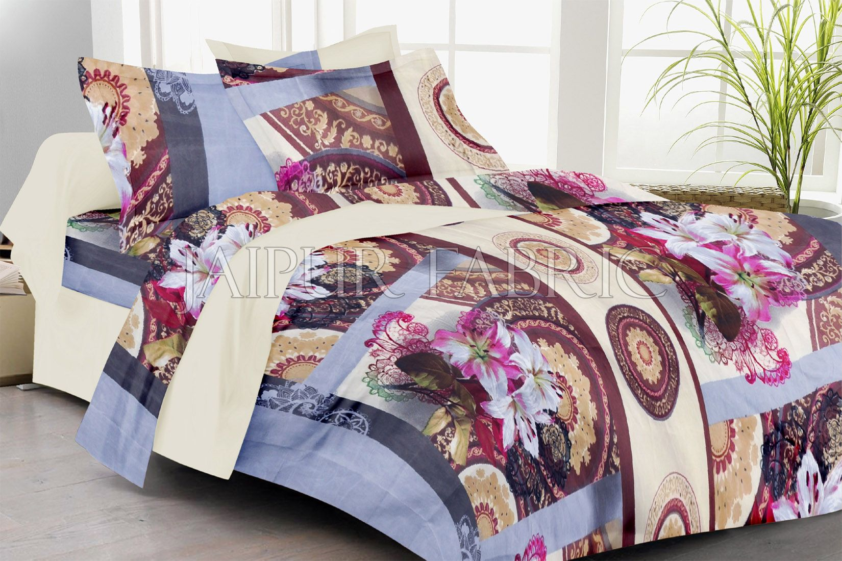 Grey Border Pink Floral Print Double Bed Sheet