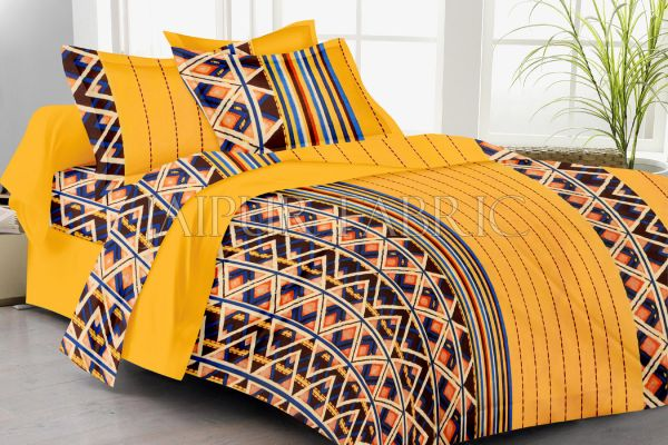 Yellow Geomatrical Print Double Bed Sheet
