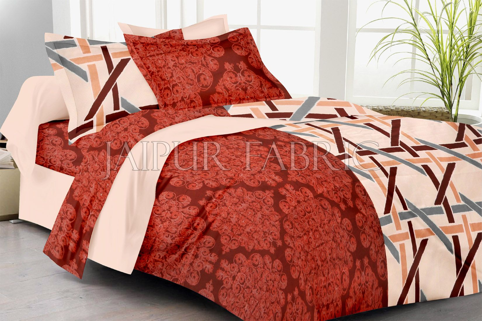 Cream And Maroon Base Small Lining Print Double Bed Sheet
