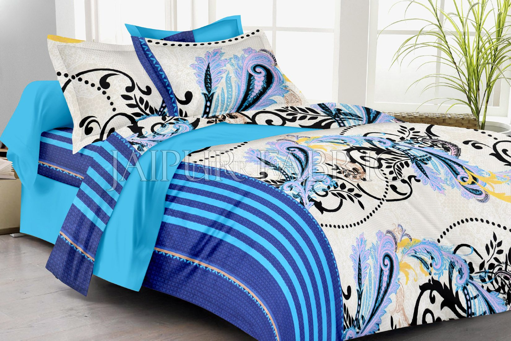 Blue Border White Base Plant Print Double Bed Sheet
