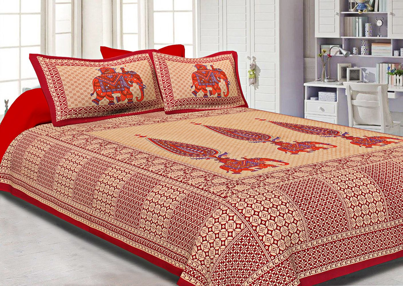 Orange Border Leaf With Elephant Print Fine Cotton Double Bed Sheet