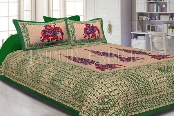 Green Border Leaf With Elephant Print Fine Cotton Double Bed Sheet