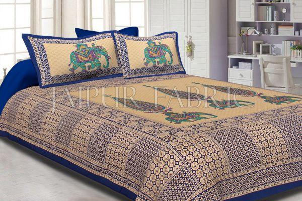 Blue Border Leaf With Elephant Print Fine Cotton Double Bed Sheet